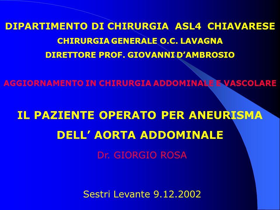 DIPARTIMENTO DI CHIRURGIA ASL4 CHIAVARESE CHIRURGIA GENERALE O.C. LAVAGNA DIRETTORE PROF. GIOVANNI DAMBROSIO Sestri Levante 9.12.2002 AGGIORNAMENTO IN