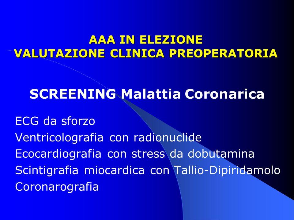 AAA IN ELEZIONE VALUTAZIONE CLINICA PREOPERATORIA SCREENING Malattia Coronarica ECG da sforzo Ventricolografia con radionuclide Ecocardiografia con st