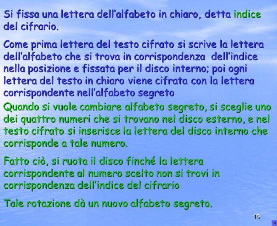 10 Si fissa una lettera dellalfabeto in chiaro, dettaindice del cifrario. Si fissa una lettera dellalfabeto in chiaro, detta indice del cifrario. Come
