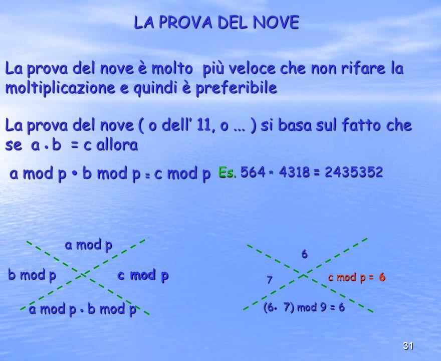 31 LA PROVA DEL NOVE La prova del nove è molto più veloce che non rifare la moltiplicazione e quindi è preferibile La prova del nove ( o dell 11, o...