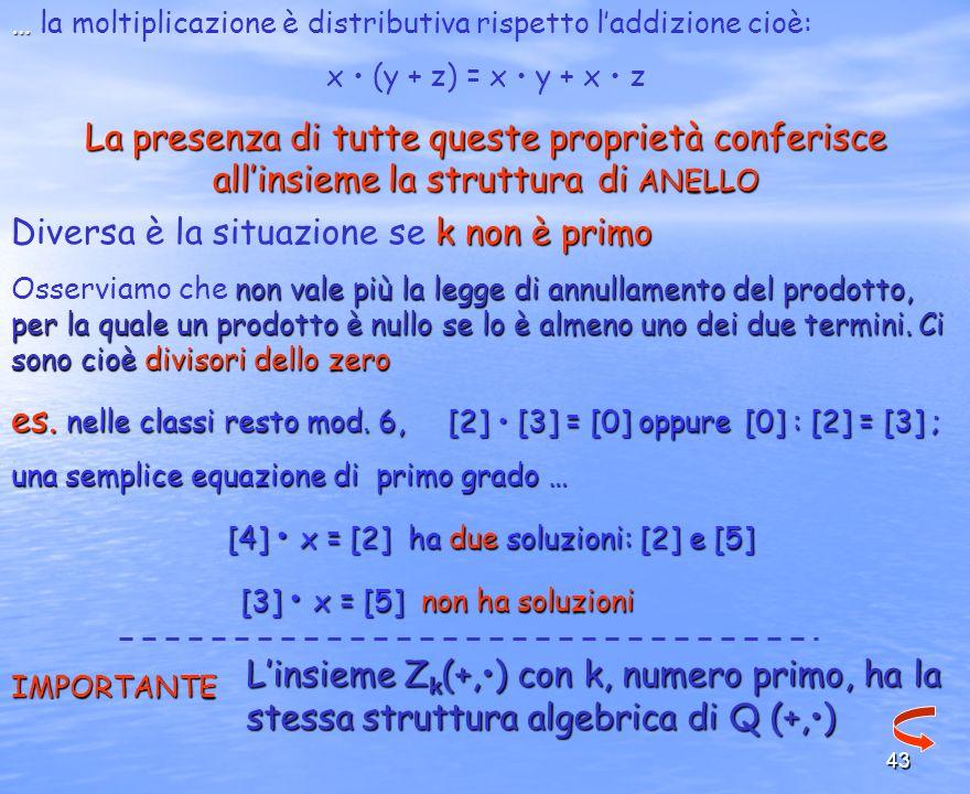 43 … … la moltiplicazione è distributiva rispetto laddizione cioè: x (y + z) = x y + x z La presenza di tutte queste proprietà conferisce allinsieme l