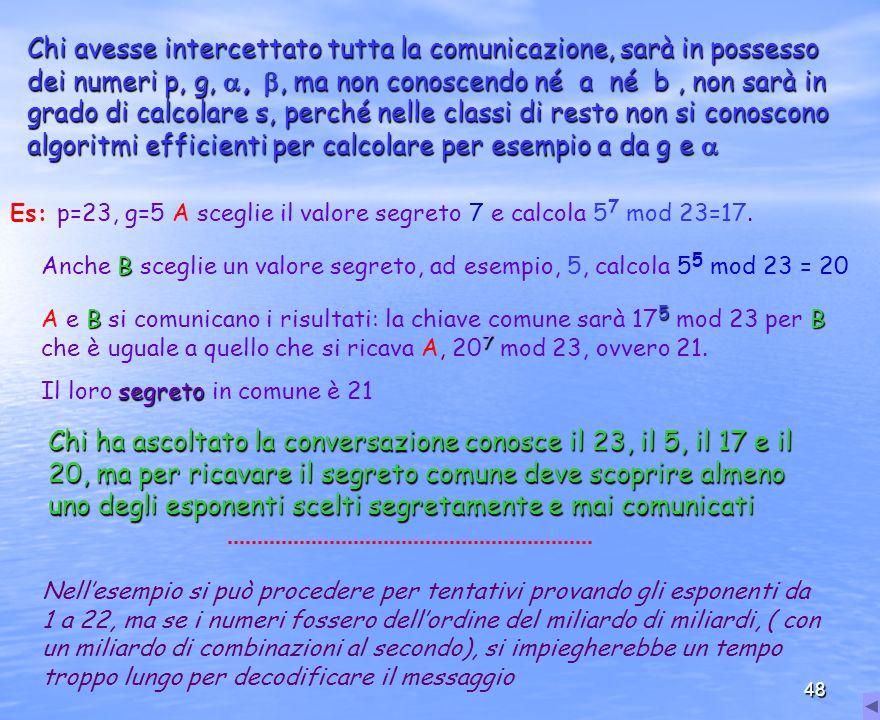 48 Chi avesse intercettato tutta la comunicazione, sarà in possesso dei numeri p, g,,, ma non conoscendo né a né b, non sarà in grado di calcolare s,