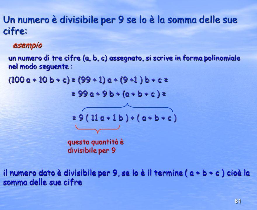 61 Un numero è divisibile per 9 se lo è la somma delle sue cifre: un numero di tre cifre (a, b, c) assegnato, si scrive in forma polinomiale nel modo