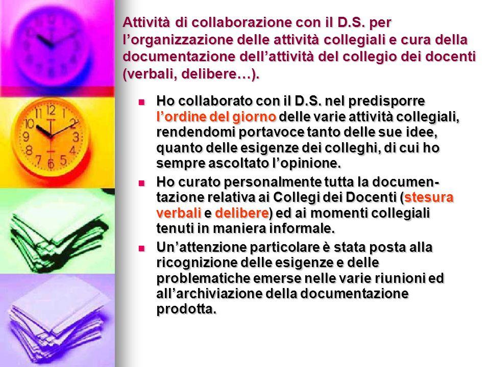 Attività di collaborazione con il D.S.