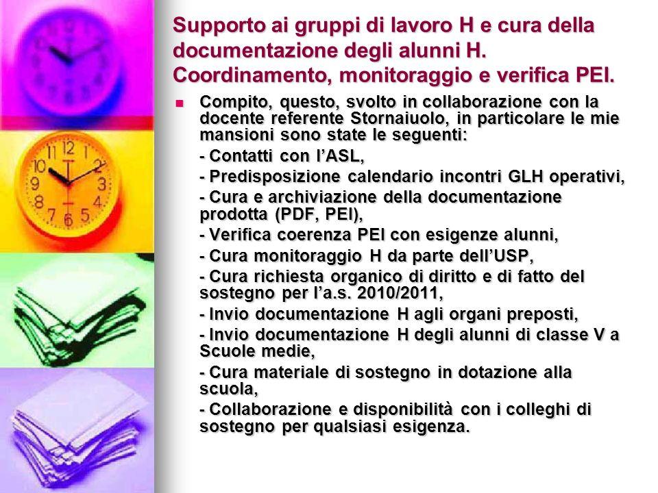 Supporto ai gruppi di lavoro H e cura della documentazione degli alunni H.