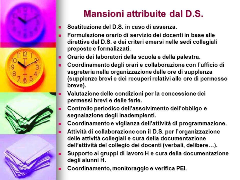Mansioni attribuite dal D.S.Sostituzione del D.S.