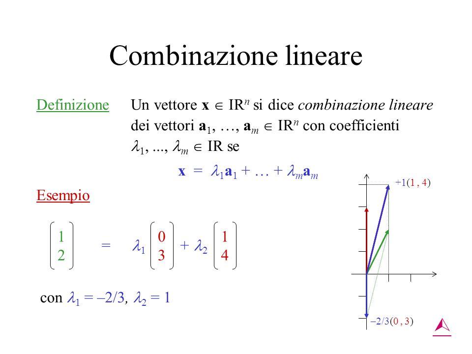 Combinazione lineare Definizione Un vettore x IR n si dice combinazione lineare dei vettori a 1, …, a m IR n con coefficienti 1,..., m IR se x = 1 a 1