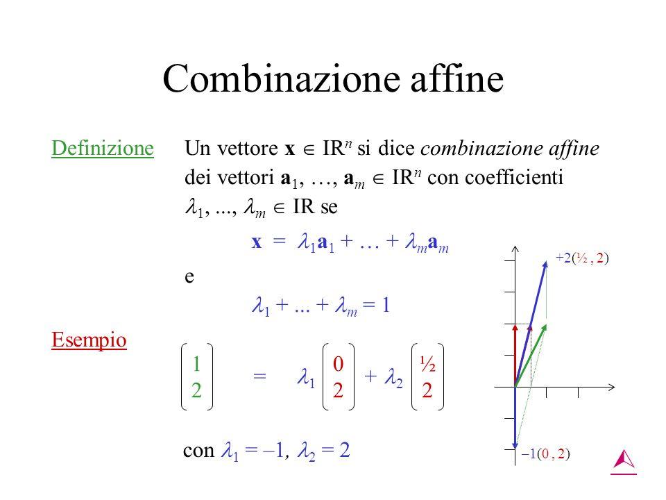 Combinazione affine Definizione Un vettore x IR n si dice combinazione affine dei vettori a 1, …, a m IR n con coefficienti 1,..., m IR se x = 1 a 1 +