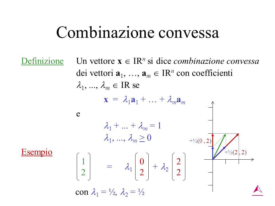Combinazione convessa Definizione Un vettore x IR n si dice combinazione convessa dei vettori a 1, …, a m IR n con coefficienti 1,..., m IR se x = 1 a