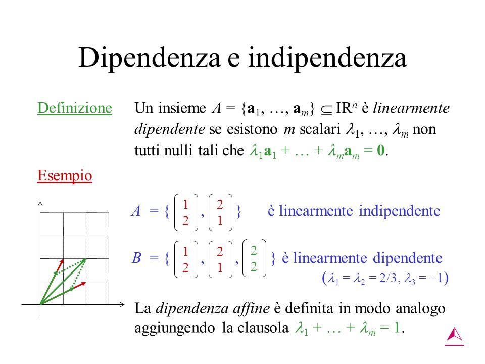 Dipendenza e indipendenza Definizione Un insieme A = {a 1, …, a m } IR n è linearmente dipendente se esistono m scalari 1, …, m non tutti nulli tali c
