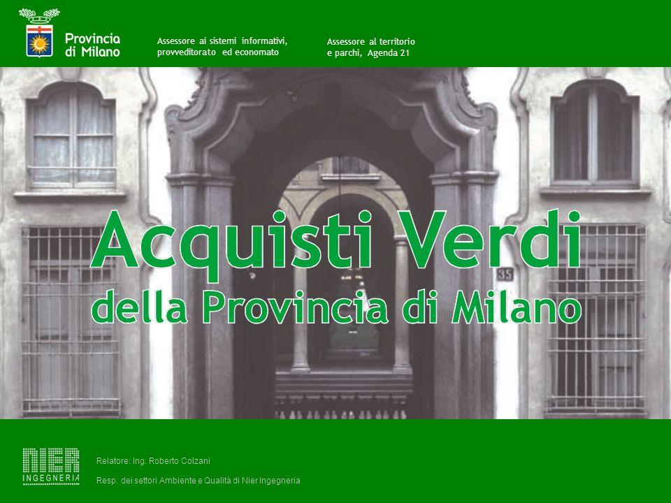 Acquisti Pubblici Verdi della Provincia di Milano A cura di Relatore: Ing.