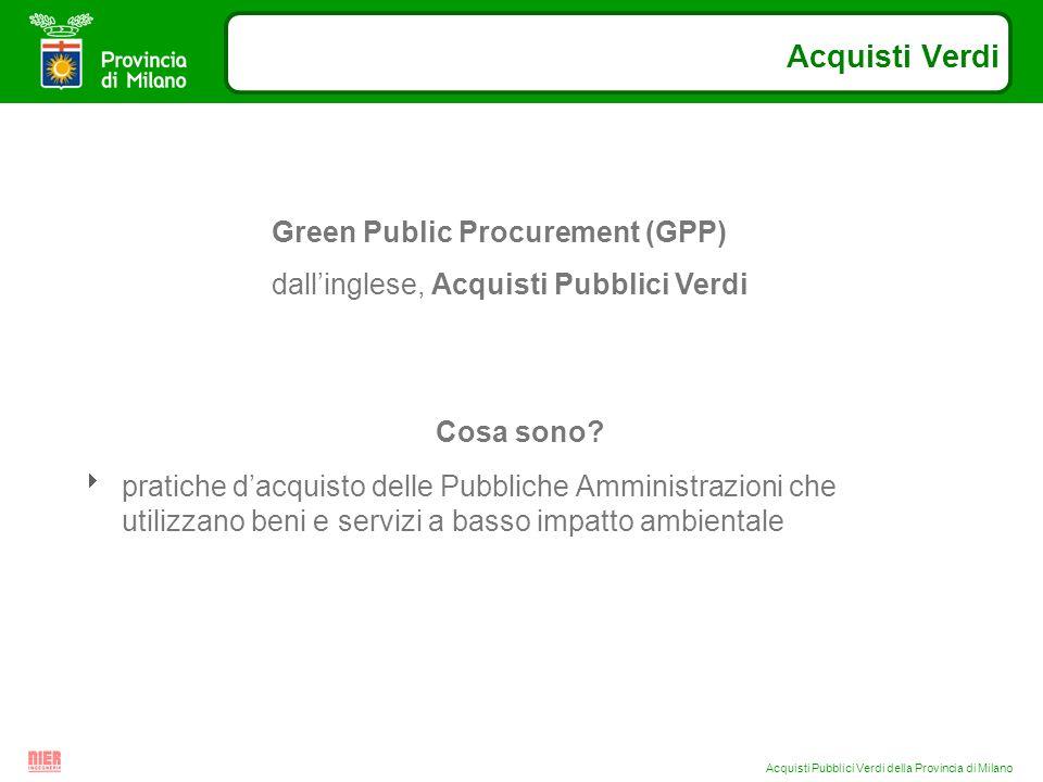 Acquisti Pubblici Verdi della Provincia di Milano Cosa sono.