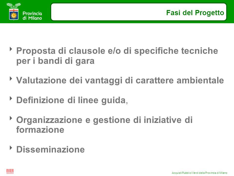 Acquisti Pubblici Verdi della Provincia di Milano Proposta di clausole e/o di specifiche tecniche per i bandi di gara Valutazione dei vantaggi di carattere ambientale Definizione di linee guida, Organizzazione e gestione di iniziative di formazione Disseminazione Fasi del Progetto
