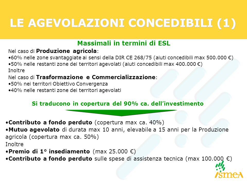 LE AGEVOLAZIONI CONCEDIBILI (1) Massimali in termini di ESL Nel caso di Produzione agricola : 60% nelle zone svantaggiate ai sensi della DIR CE 268/75