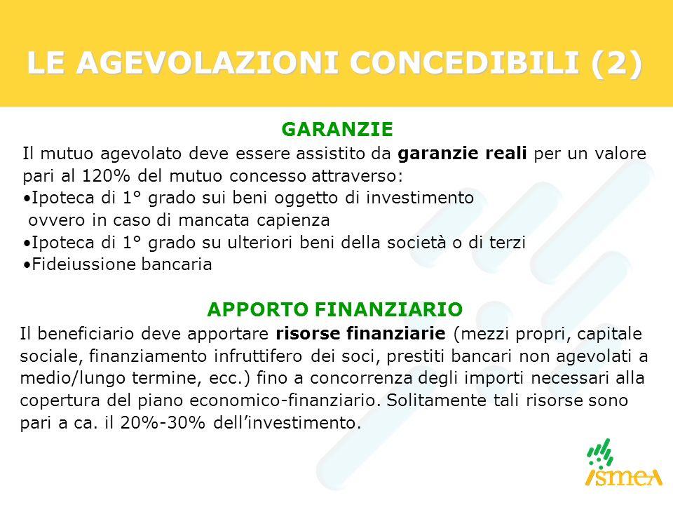 LE AGEVOLAZIONI CONCEDIBILI (2) GARANZIE Il mutuo agevolato deve essere assistito da garanzie reali per un valore pari al 120% del mutuo concesso attr