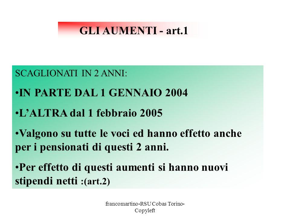GLI AUMENTI - art.1 SCAGLIONATI IN 2 ANNI: IN PARTE DAL 1 GENNAIO 2004 LALTRA dal 1 febbraio 2005 Valgono su tutte le voci ed hanno effetto anche per i pensionati di questi 2 anni.