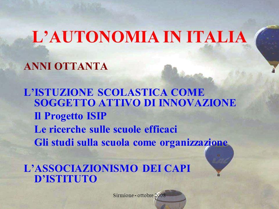 Sirmione - ottobre 2008 RECLUTAMENTO E GESTIONE RISORSE UMANE DIRIGENTI SCOLASTICI DOCENTI NON DOCENTI