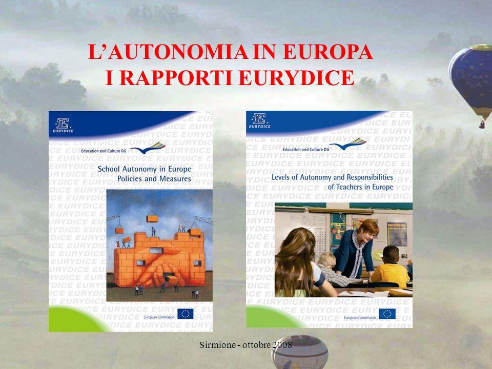Sirmione - ottobre 2008 LAUTONOMIA IN EUROPA I RAPPORTI EURYDICE