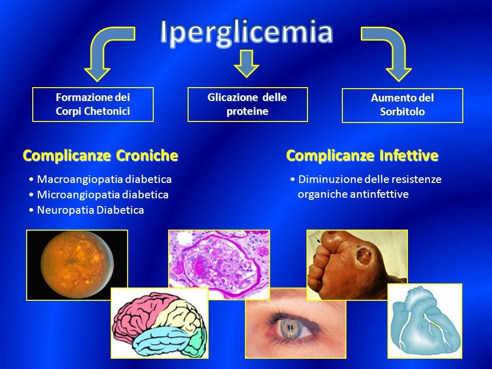 Formazione dei Corpi Chetonici Aumento del Sorbitolo Glicazione delle proteine Complicanze Croniche Macroangiopatia diabetica Neuropatia Diabetica Mic