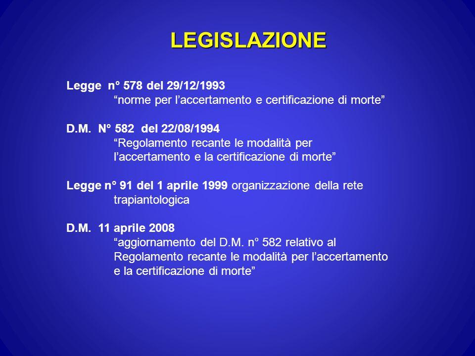 LEGISLAZIONE Legge n° 578 del 29/12/1993 norme per laccertamento e certificazione di morte D.M. N° 582 del 22/08/1994 Regolamento recante le modalità