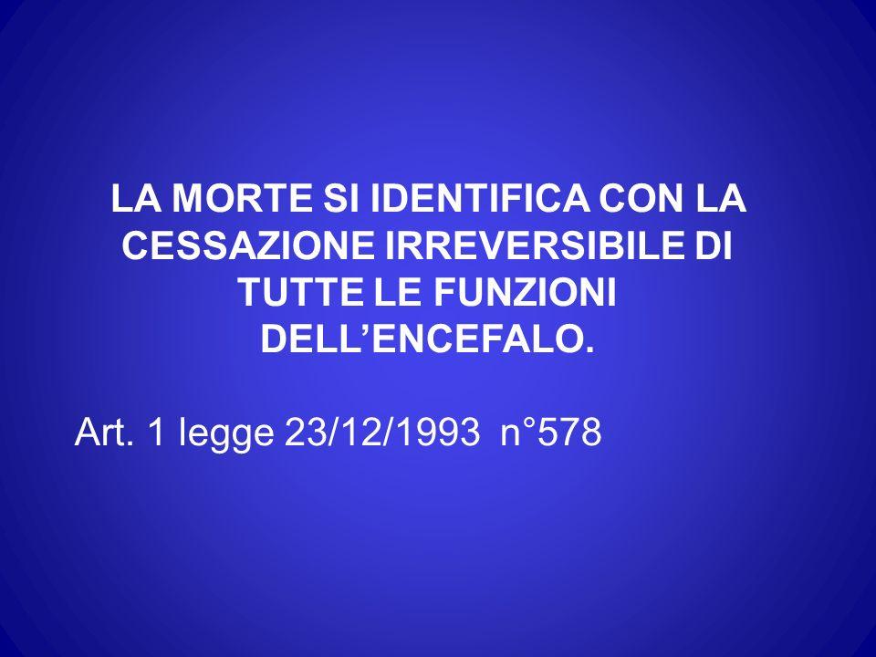 LA MORTE SI IDENTIFICA CON LA CESSAZIONE IRREVERSIBILE DI TUTTE LE FUNZIONI DELLENCEFALO. Art. 1 legge 23/12/1993 n°578
