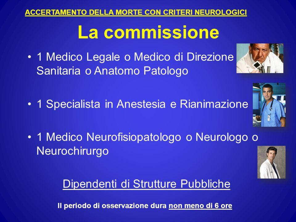 La commissione 1 Medico Legale o Medico di Direzione Sanitaria o Anatomo Patologo 1 Specialista in Anestesia e Rianimazione 1 Medico Neurofisiopatologo o Neurologo o Neurochirurgo Dipendenti di Strutture Pubbliche ACCERTAMENTO DELLA MORTE CON CRITERI NEUROLOGICI Il periodo di osservazione dura non meno di 6 ore