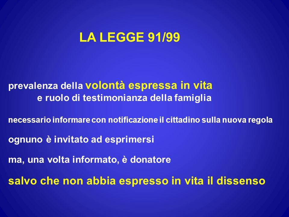 LA LEGGE 91/99 prevalenza della volontà espressa in vita e ruolo di testimonianza della famiglia necessario informare con notificazione il cittadino s
