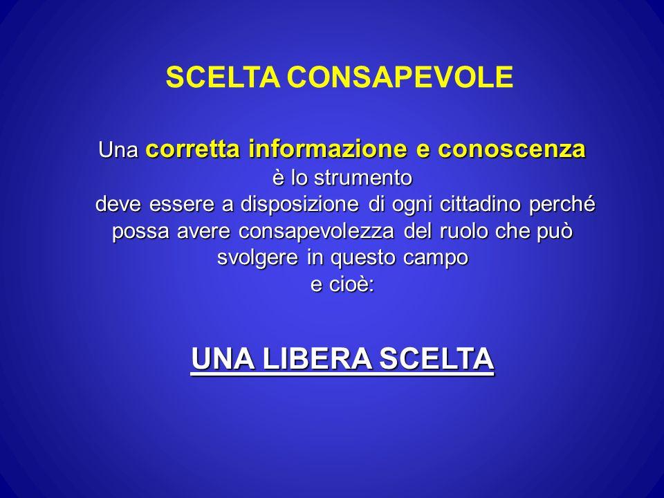SCELTA CONSAPEVOLE Una corretta informazione e conoscenza è lo strumento deve essere a disposizione di ogni cittadino perché possa avere consapevolezz
