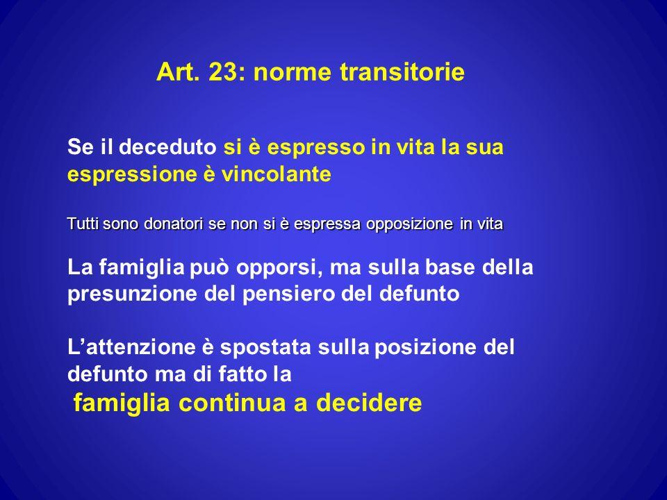 Art. 23: norme transitorie Se il deceduto si è espresso in vita la sua espressione è vincolante Tutti sono donatori se non si è espressa opposizione i