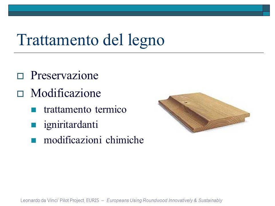 Trattamento del legno Preservazione Modificazione trattamento termico igniritardanti modificazioni chimiche Leonardo da Vinci Pilot Project, EURIS – E