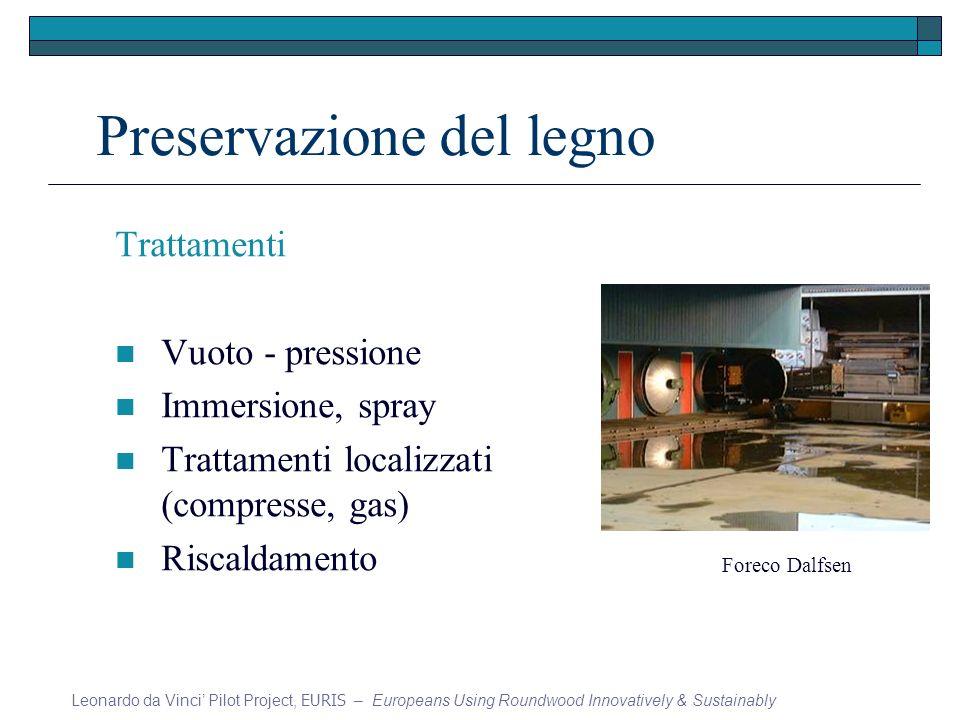 Preservazione del legno Trattamenti Vuoto - pressione Immersione, spray Trattamenti localizzati (compresse, gas) Riscaldamento Leonardo da Vinci Pilot