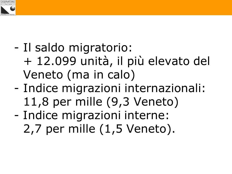 -Il saldo migratorio: + 12.099 unità, il più elevato del Veneto (ma in calo) -Indice migrazioni internazionali: 11,8 per mille (9,3 Veneto) - Indice migrazioni interne: 2,7 per mille (1,5 Veneto).