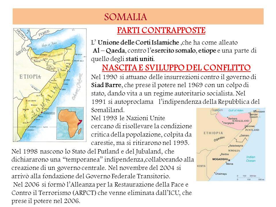 SOMALIA PARTI CONTRAPPOSTE L Unione delle Corti Islamiche,che ha come alleato Al – Qaeda, contro lesercito somalo, etiope e una parte di quello degli
