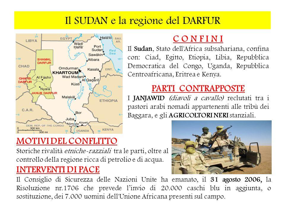 Il SUDAN e la regione del DARFUR C O N F I N I Il Sudan, Stato dell'Africa subsahariana, confina con: Ciad, Egitto, Etiopia, Libia, Repubblica Democra