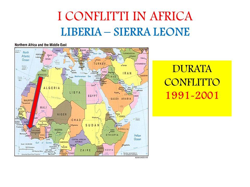 I CONFLITTI IN AFRICA LIBERIA – SIERRA LEONE DURATA CONFLITTO 1991-2001