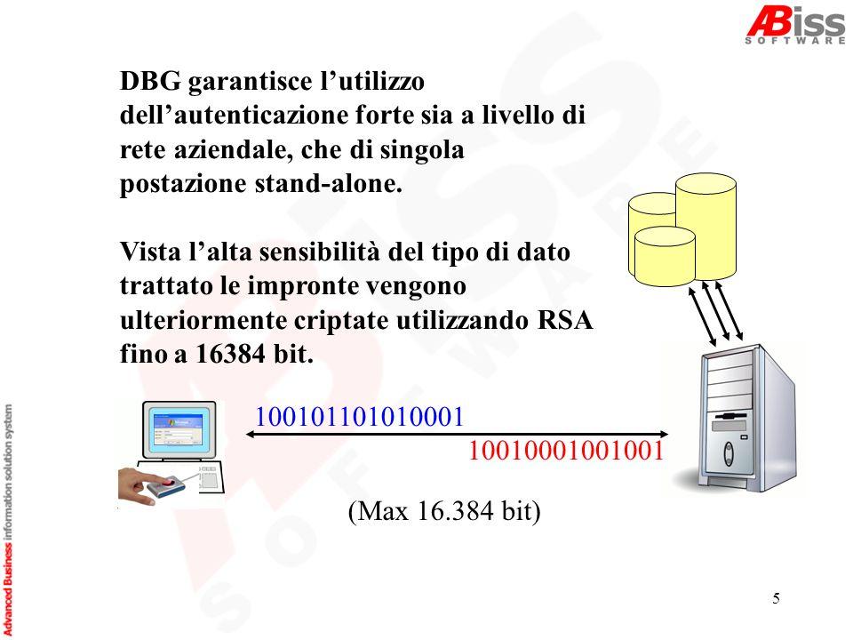 5 DBG garantisce lutilizzo dellautenticazione forte sia a livello di rete aziendale, che di singola postazione stand-alone.