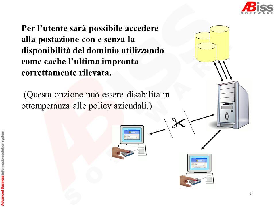 6 Per lutente sarà possibile accedere alla postazione con e senza la disponibilità del dominio utilizzando come cache lultima impronta correttamente rilevata.