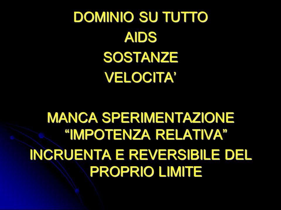 DOMINIO SU TUTTO AIDSSOSTANZEVELOCITA MANCA SPERIMENTAZIONE IMPOTENZA RELATIVA INCRUENTA E REVERSIBILE DEL PROPRIO LIMITE
