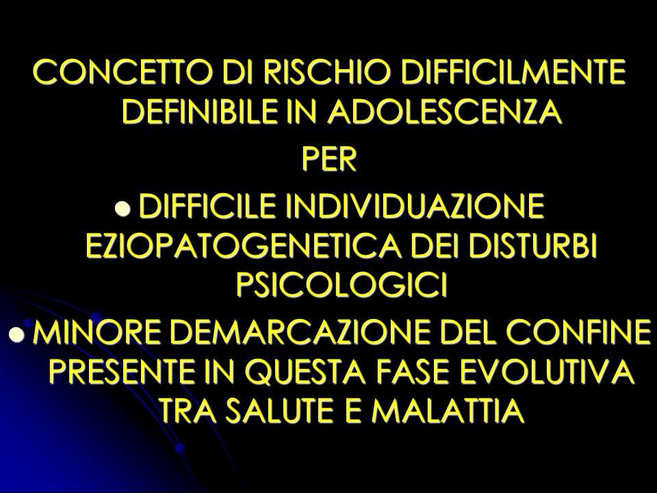 CONCETTO DI RISCHIO DIFFICILMENTE DEFINIBILE IN ADOLESCENZA PER DIFFICILE INDIVIDUAZIONE EZIOPATOGENETICA DEI DISTURBI PSICOLOGICI DIFFICILE INDIVIDUA