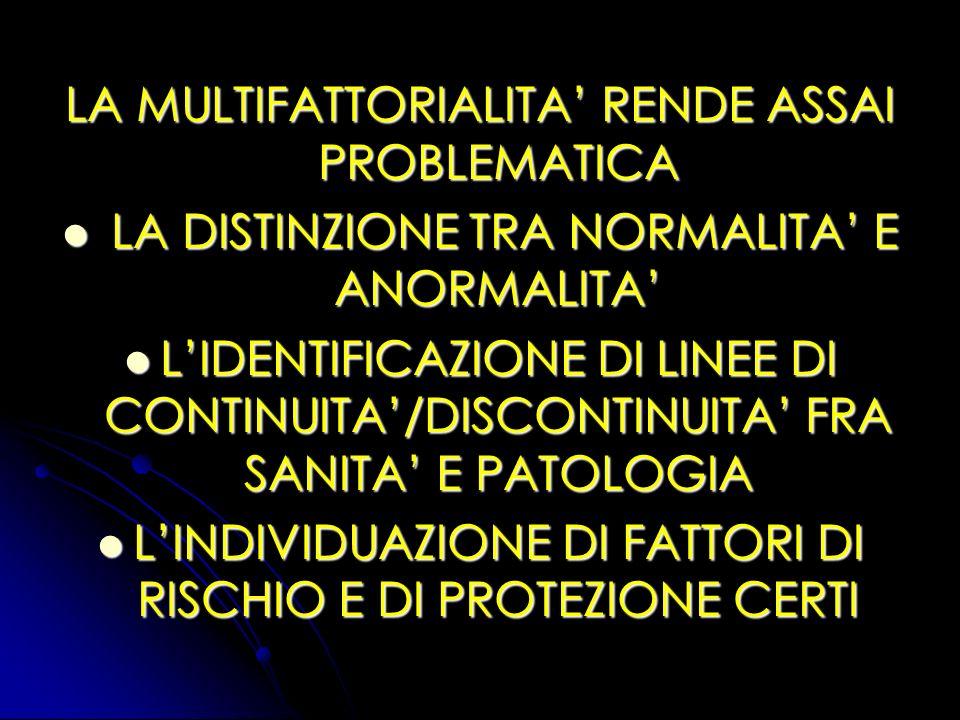 LA MULTIFATTORIALITA RENDE ASSAI PROBLEMATICA LA DISTINZIONE TRA NORMALITA E ANORMALITA LA DISTINZIONE TRA NORMALITA E ANORMALITA LIDENTIFICAZIONE DI