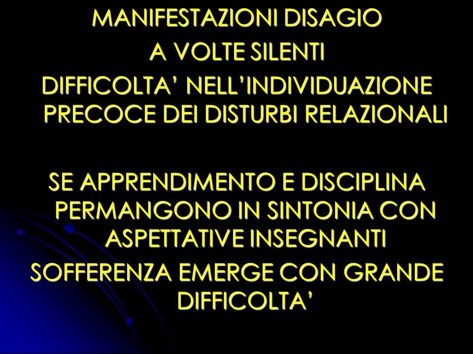 MANIFESTAZIONI DISAGIO A VOLTE SILENTI DIFFICOLTA NELLINDIVIDUAZIONE PRECOCE DEI DISTURBI RELAZIONALI SE APPRENDIMENTO E DISCIPLINA PERMANGONO IN SINT