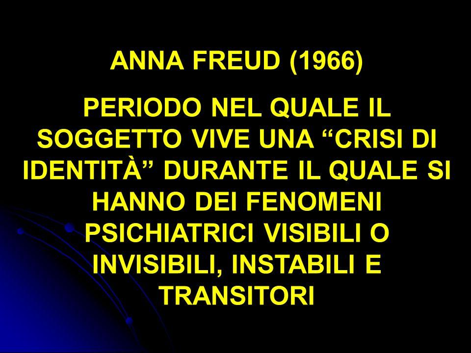 ANNA FREUD (1966) PERIODO NEL QUALE IL SOGGETTO VIVE UNA CRISI DI IDENTITÀ DURANTE IL QUALE SI HANNO DEI FENOMENI PSICHIATRICI VISIBILI O INVISIBILI,