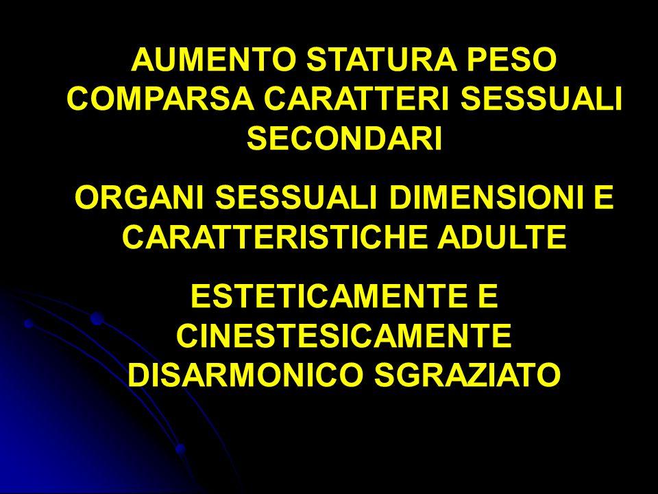 AUMENTO STATURA PESO COMPARSA CARATTERI SESSUALI SECONDARI ORGANI SESSUALI DIMENSIONI E CARATTERISTICHE ADULTE ESTETICAMENTE E CINESTESICAMENTE DISARM