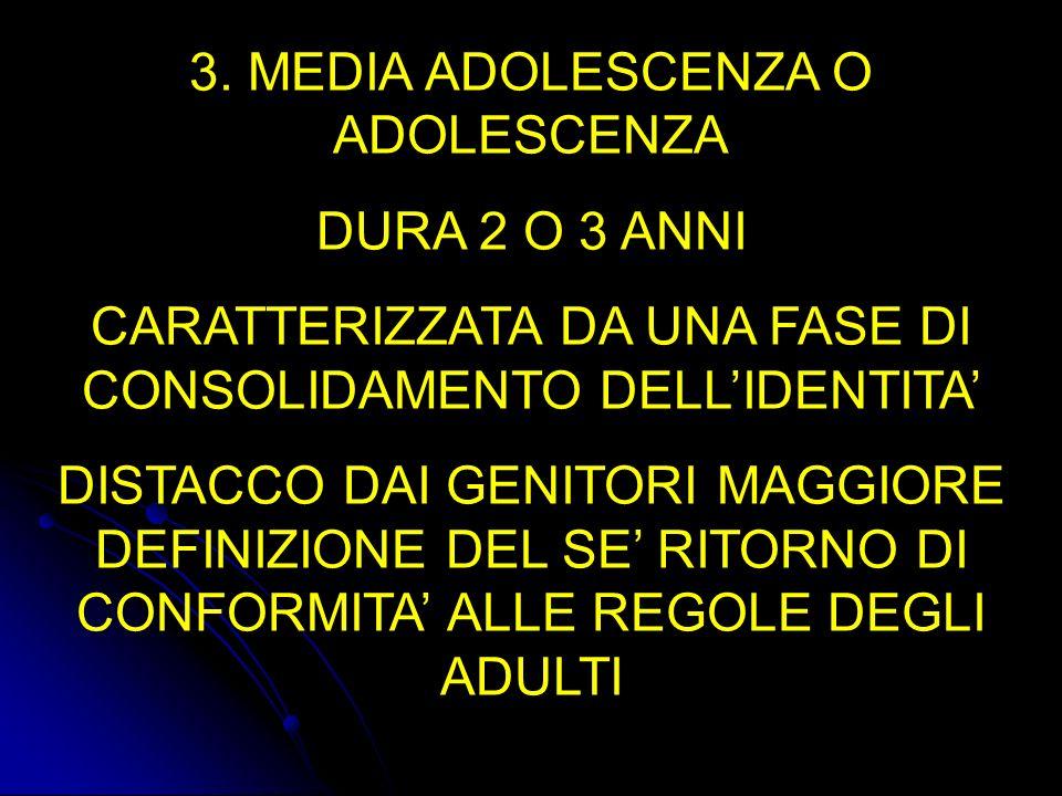 3. MEDIA ADOLESCENZA O ADOLESCENZA DURA 2 O 3 ANNI CARATTERIZZATA DA UNA FASE DI CONSOLIDAMENTO DELLIDENTITA DISTACCO DAI GENITORI MAGGIORE DEFINIZION