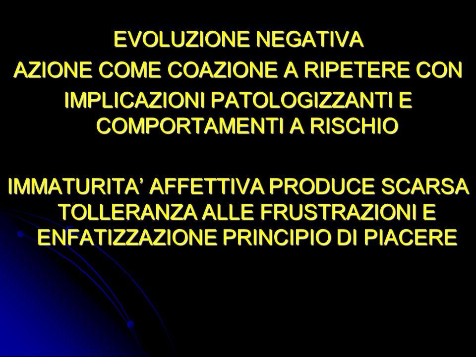 EVOLUZIONE NEGATIVA AZIONE COME COAZIONE A RIPETERE CON IMPLICAZIONI PATOLOGIZZANTI E COMPORTAMENTI A RISCHIO IMMATURITA AFFETTIVA PRODUCE SCARSA TOLL
