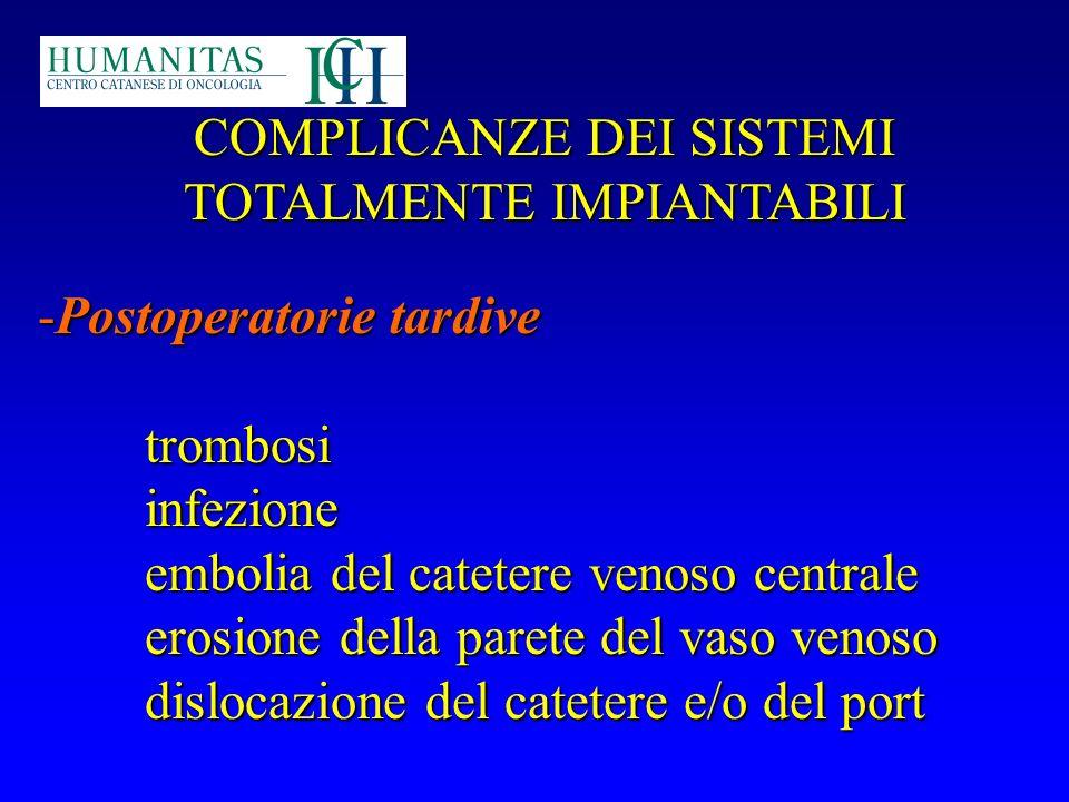 COMPLICANZE DEI SISTEMI TOTALMENTE IMPIANTABILI -Postoperatorie tardive trombosiinfezione embolia del catetere venoso centrale erosione della parete d
