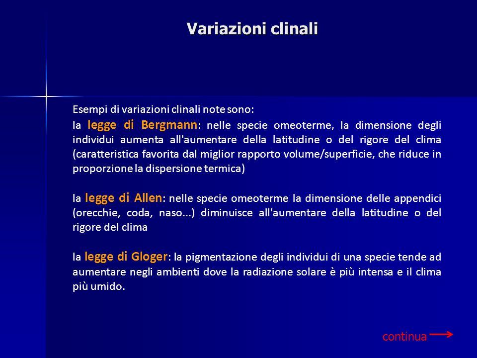 Variazioni clinali continua Esempi di variazioni clinali note sono: la legge di Bergmann : nelle specie omeoterme, la dimensione degli individui aumen