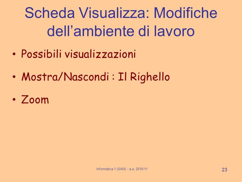 Scheda Visualizza: Modifiche dellambiente di lavoro Possibili visualizzazioni Mostra/Nascondi : Il Righello Zoom Informatica 1 (SAM) - a.a. 2010/11 23