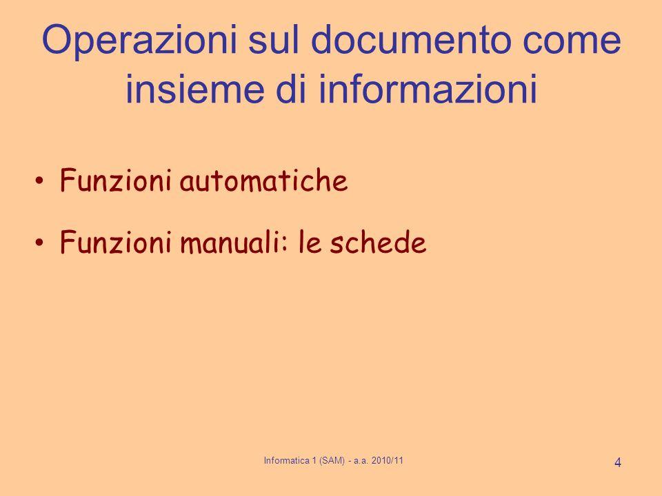 Operazioni sul documento come insieme di informazioni Funzioni automatiche Funzioni manuali: le schede Informatica 1 (SAM) - a.a. 2010/11 4
