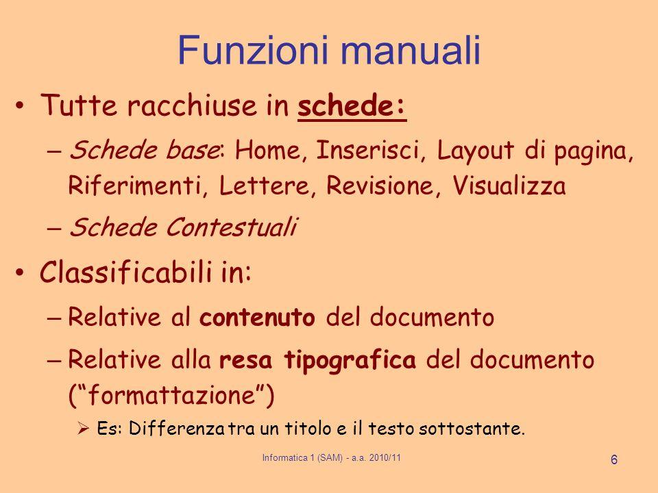 Informatica 1 (SAM) - a.a. 2010/11 6 Funzioni manuali Tutte racchiuse in schede: – Schede base: Home, Inserisci, Layout di pagina, Riferimenti, Letter